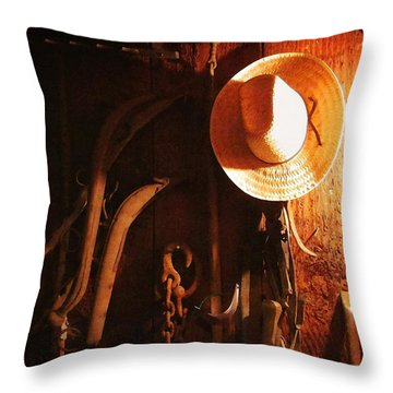 Tack House Throw Pillow by Timothy Bulone