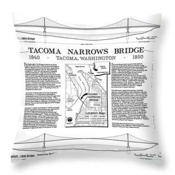 Tacoma Narrows Bridge Habs P1 Throw Pillow by Photo Researchers