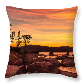 Throw Pillow featuring the photograph Tahoe Golden Sunset by Steven Bateson