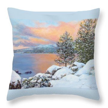 Tahoe Winter Colors Throw Pillow by Donna Tucker