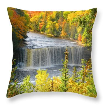 Tahquamenon Falls In October Throw Pillow