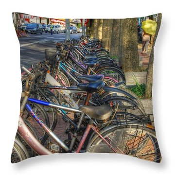 Taiwan Bikes Throw Pillow