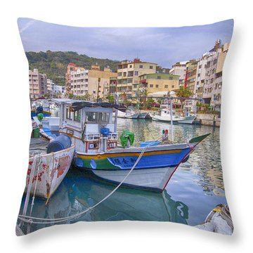 Taiwan Boats Throw Pillow