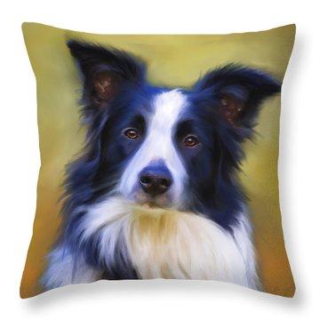 Beautiful Border Collie Portrait Throw Pillow