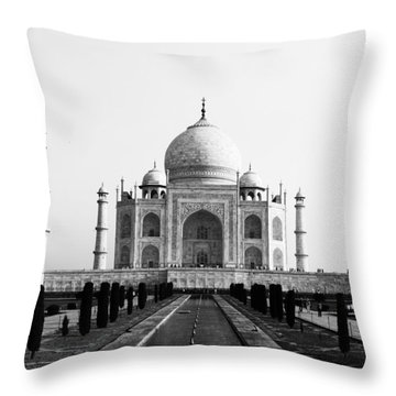 Taj Mahal Bw Throw Pillow