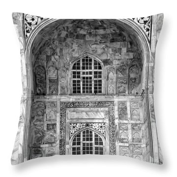 Taj Mahal Close Up In Black And White Throw Pillow by Amanda Stadther