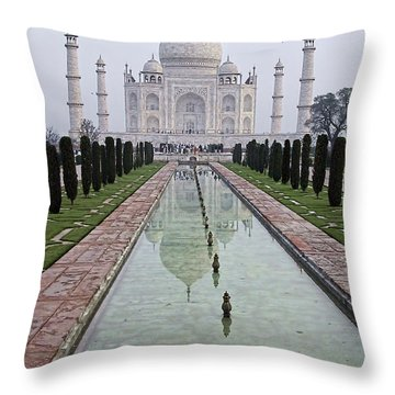 Taj Mahal Early Morning Throw Pillow by John Hansen