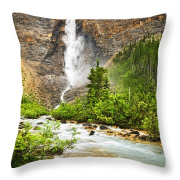 Takakkaw Falls Waterfall In Yoho National Park Canada Throw Pillow by Elena Elisseeva