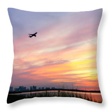 Take Off At Sunset In 1984 Throw Pillow by Michelle Wiarda