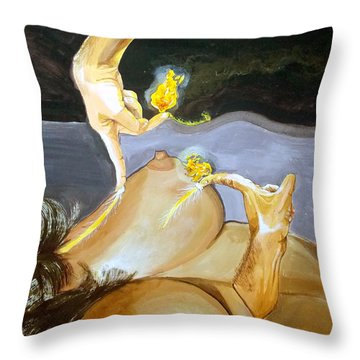 Throw Pillow featuring the painting Takeoff The Touch Despegue Del Tacto by Lazaro Hurtado