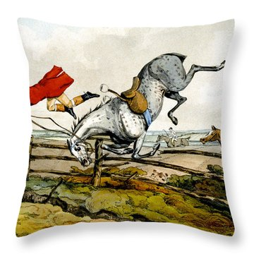Taking A Tumble From Qualified Horses And Unqualified Riders Throw Pillow by Henry Thomas Alken