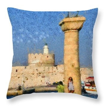 Taking Pictures At The Entrance Of Mandraki Port Throw Pillow by George Atsametakis