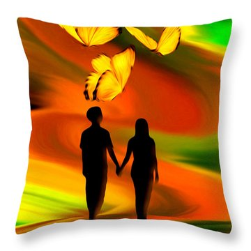 Throw Pillow featuring the digital art Taking The Butterflies Road - Fantasy Painting By Giada Rossi by Giada Rossi