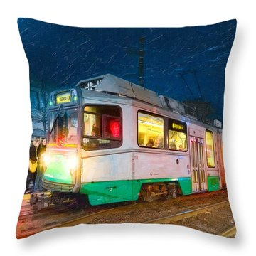 Throw Pillow featuring the photograph Taking The T At Night In Boston by Mark E Tisdale