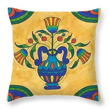 Talavera Flora 2 Throw Pillow