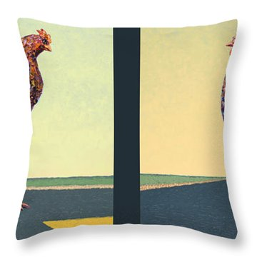 Tale Of Two Chickens Throw Pillow by James W Johnson