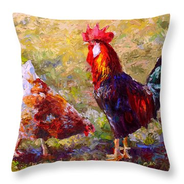 Rooster And Hen Farm Art Chicken Painting  Throw Pillow