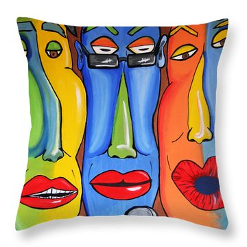 Talking Heads Throw Pillow by Vickie Scarlett-Fisher