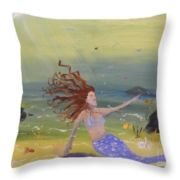 Talking To The Fishes Throw Pillow