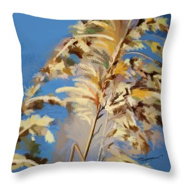 Throw Pillow featuring the digital art Tall Grass Mix by Anthony Fishburne