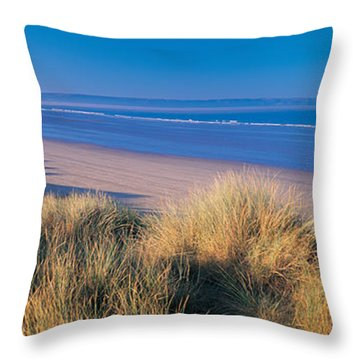 Tall Grass On The Coastline, Saunton Throw Pillow