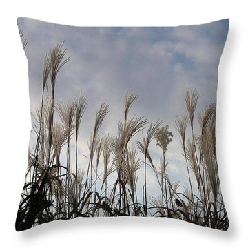 Tall Grasses And Blue Skies Throw Pillow