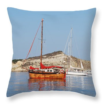 Tall Ship Throw Pillow by George Katechis