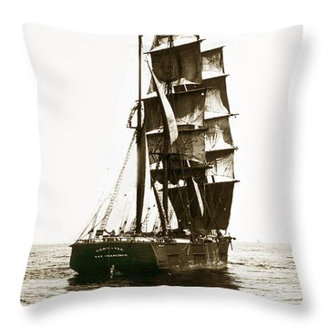 Throw Pillow featuring the photograph Tall Ship Germania Out Of San Francisco California  Circa 1900 by California Views Mr Pat Hathaway Archives