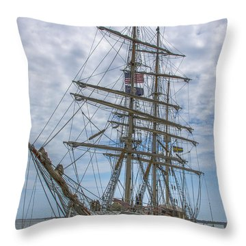 Throw Pillow featuring the photograph Tall Ship Gunilla Vertical by Dale Powell