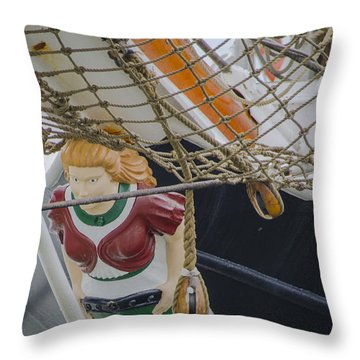 Throw Pillow featuring the photograph Tall Ship Gunilla Masthead by Dale Powell