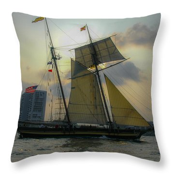Tall Ship In Charleston Throw Pillow by Dale Powell