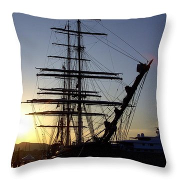 Tall Ship In Ibiza Town Throw Pillow