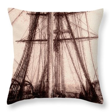 Tall Ship Throw Pillow by Jack Zulli