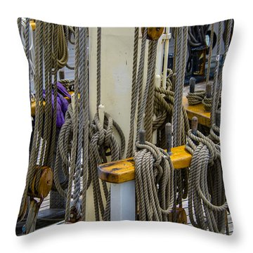 Tall Ship Lines And Blocks Throw Pillow by Dale Powell