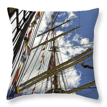 Tall Ship Mast And Crows Nest 3 Throw Pillow