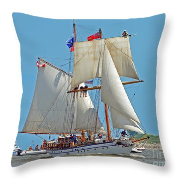 Throw Pillow featuring the photograph Tall Ship Pathfinder by Rodney Campbell