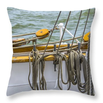 Throw Pillow featuring the photograph Tall Ship Rigging by Dale Powell