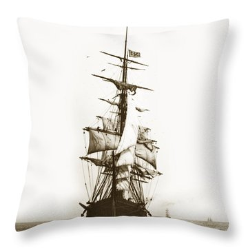 Throw Pillow featuring the photograph Tall Ship Sailing Out Of San Francisco California Circa 1900 by California Views Mr Pat Hathaway Archives
