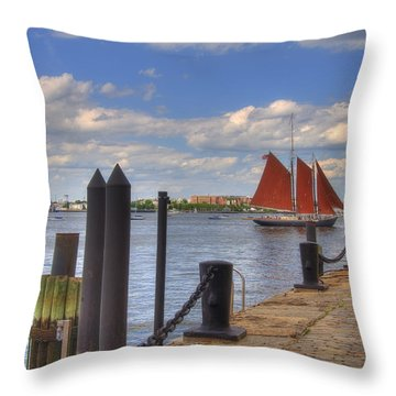 Tall Ship The Roseway In Boston Harbor Throw Pillow by Joann Vitali