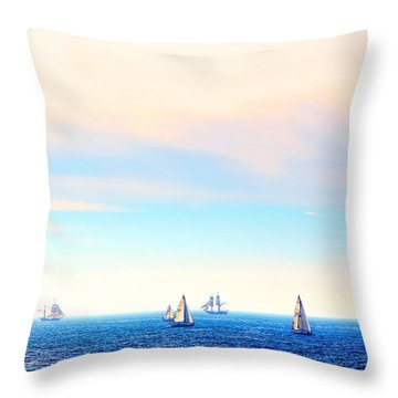 Tall Ships And Sail Boats Throw Pillow