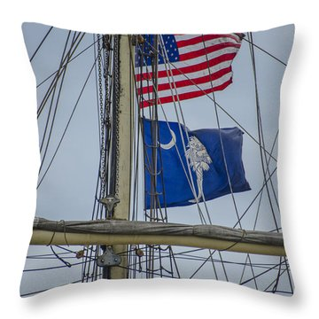 Throw Pillow featuring the photograph Tall Ships Flags by Dale Powell