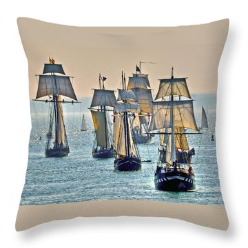 Tall Ships Throw Pillow by Geraldine Alexander