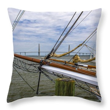 Throw Pillow featuring the photograph Tall Ships In Charleston by Dale Powell