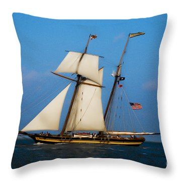 Tall Ships Over Charleston Throw Pillow by Dale Powell