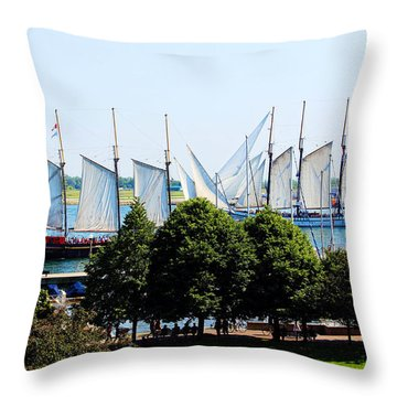 Tall Ships Passing Throw Pillow by Nicky Jameson