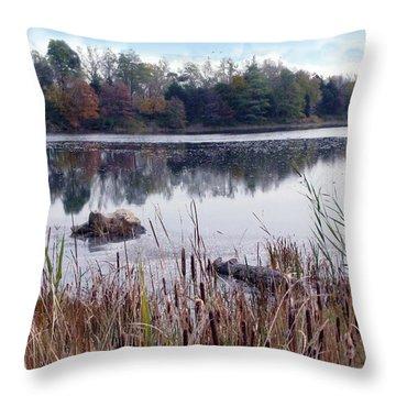Tallgrass At Lake Katherine Throw Pillow by Cedric Hampton