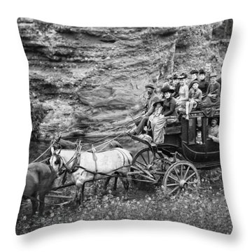 Tallyho Stagecoach Party C. 1889 Throw Pillow by Daniel Hagerman
