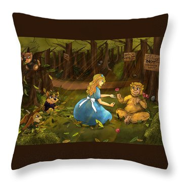 Throw Pillow featuring the painting Tammy And The Baby Hoargg by Reynold Jay