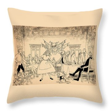 Throw Pillow featuring the drawing Tammy In Indpendence Hall by Reynold Jay