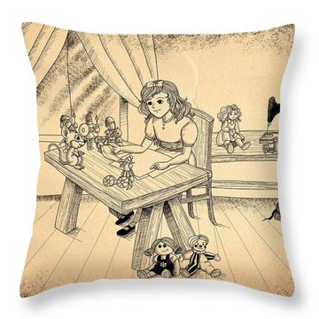 Throw Pillow featuring the drawing Tammy Meets Alfred The Mouse by Reynold Jay